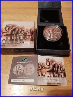 Coin Silver 1oz The Elephant Tanzania 1000 Shillings 2016