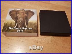 Coin Silver 2oz The Benin Elephant 2015 1500 Francs Cfa Republique Du Benin