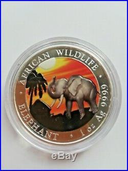 Coins/SOMALIA 2017 /ELEPHANT/ 1 Oz SILVER / COLORED
