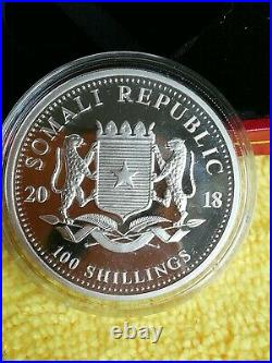 Coins/SOMALIA/ 2018/ ELEPHANT /1 Oz SILVER/WITH COA