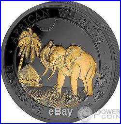 ELEPHANT Golden Enigma 1 Oz Silver Coin 100 Shillings Somalia 2017