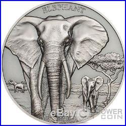 ELEPHANT High Relief Animals 1 Oz Silver Coin 1000 Shillings Tanzania 2016