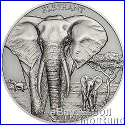 ELEPHANT High Relief Animals Series 1oz Silver Antique Finish Coin 2016 Tanzania