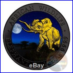 ELEPHANT NIGHT African Wildlife 1 Oz Silver Coin 100 Shilling Somalia 2016 -COA