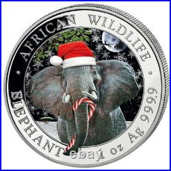 ELEPHANT-SNOWGLOBE 1 oz Silver coin Christmas Edition Somalia 2021