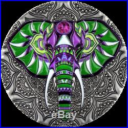 Elephant Mandala Art Niue 2019 2 Oz silver coin 5 dollars 5 $ AVAILABLE