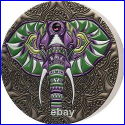 Elephant Mandala Collection 1 kilo Antique finish Silver Coin Ghana 2021