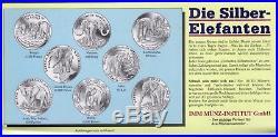 Elephants 8 Dif Proof Silver Coins Set 1993 Yr Laos Cambodia Vietnam Congo Benin