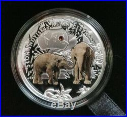 Endangered Asian Elephant 1/2oz Silver Coin Proof withSwarovski Crystal Niue 2016