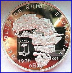 Equatorial Guinea 1995 Elephant 5oz 7000 Francs Silver Coin, Proof-C
