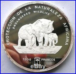 Equatorial Guinea 1995 Elephant 5oz 7000 Francs Silver Coin, Proof-D
