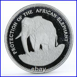 Equatorial Guinea 7000 francos Protect the African Elephant silver coin 1993