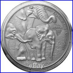 Gabon 1000 Francs 2013 Elephants Baby1 OZ Silver Certificate Capsule Loose