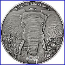 Gabun 2000 Francs 2012 Africa Elephant 3 Silver Ounces
