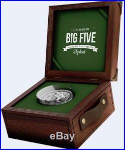 Ivory Coast 2017 5000 Francs Big Five Elephant 5oz Silver Antique Coin