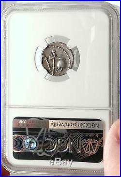 JULIUS CAESAR 49BC Elephant Serpent Genuine Ancient SILVER Roman Coin NGC Ch AU