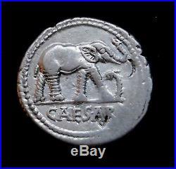 Julius Caesar 49-48 BC Stunning Rare Denarius. War Elephant. Roman Silver Coin