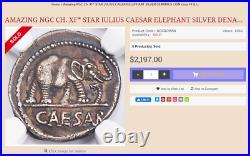 Julius Caesar AR Denarius Silver Coin Elephant