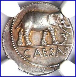 Julius Caesar AR Denarius Silver Elephant Coin 49 BC Certified NGC Choice AU