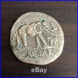 Julius Caesar Ancient Denarius Coin 49 BC Elephant Snake Fine Condition