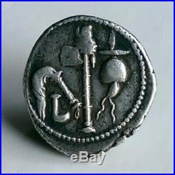 Julius Caesar Authentic War Elephant Ancient Roman Silver Denarius 46 BC Coin