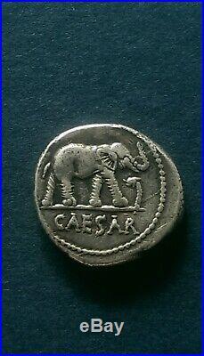 Julius Caesar Elephant & Pontifical Tools AR Silver Denarius 46-45 BC Coin