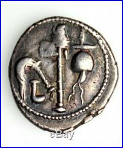 Julius Caesar Elephant & Pontifical Tools AR Silver Denarius 49-48 BC Coin