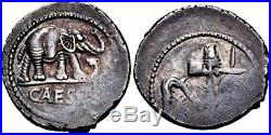Julius Caesar. Gorgeous Rare Denarius. War Elephant. Ancient Roman Silver Coin