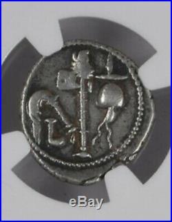 Julius Caesar NGC Ch VF 49-48 BC'Elephant & Implements Silver Denarius Coin