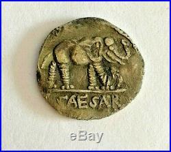 Julius Caesar Roman Silver Coin Caesar Denarius War Elephant 49-48 BC military