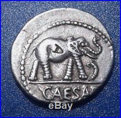 Julius Caesar. War Elephant. Rare Denarius. 49-48 BC Exquisite Roman Silver Coin