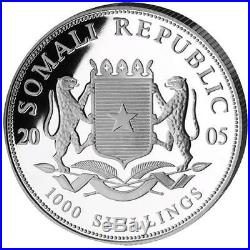 Key-date 2005 1 oz Silver Bavarian Mint Somalia Elephant BU in Air-Tite Capsule