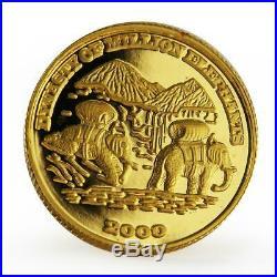 Laos 2000 kip Dynasty of Million Elephants proof gold coin 2000