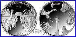 Latvia 1 lats 2012 silver Animal Zoo coin elephant, bear, lion PROOF Box coa