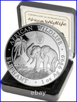 Lot 5 oz Elephant Somali Republic Privy 2016/17/20 & 2018 High Relief + 2021