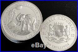 Lot Of 10 2017 Somalia 1 Oz Silver Elephant Bu. 9999 Fine