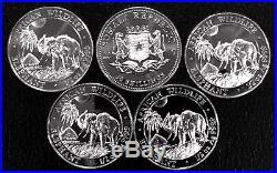 Lot Of 5 2017 Somalia 1/2 Oz Silver Elephant Bu. 9999 Fine
