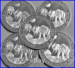 (Lot Of 5 Coins) (2017) 1 oz Somalia. 999 Silver Elephant Coin (BU)