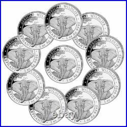 Lot of 10 2021 Somalia 1 oz Silver Elephant Sh100 Coins GEM BU PRESALE
