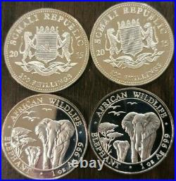 Lot of 4 2015 Somalia African Wildlife Elephant Silver Coin 1oz Mint BU