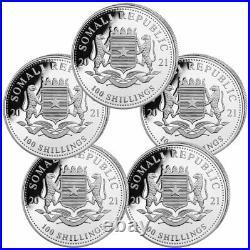 Lot of 5 2021 Somalia 1 oz Silver Elephant Sh100 Coins GEM BU PRESALE