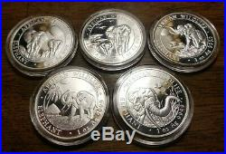 Lot of 5 Somali Elephant Silver coins