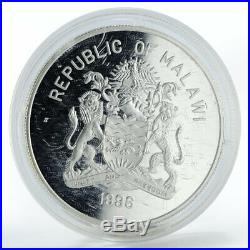 Malawi 20 kwacha Endangered Wildlife Elephant proof silver coin 1996