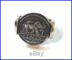 Mens Sterling Silver Ring 9.75 Signet Roman Emperor Julius Caesar Elephant Coin