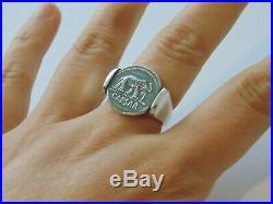 Mens Sterling Silver Ring SZ 10 Signet Roman Emperor Julius Caesar Elephant Coin