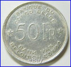 Moneda De 1944 Congo Belga 50 Francs Elephant Silver Coin