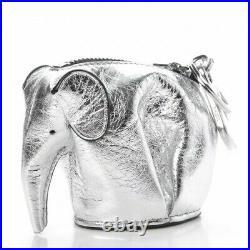 NEW LOEWE Metallic Calfskin Mini Elephant Coin Purse Silver