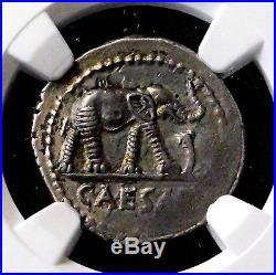 NGC AU 4/5-4/5. Julius Caesar. Stunning Rare Denarius. War Elephant. Silver Coin