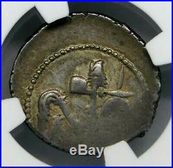 NGC Ch XF 2/5-5/5 Julius Caesar. Superb Rare Denarius. War Elephant. Silver Coin