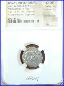 NGC Ch XF 4/5-2/5 Julius Caesar. Lovely Rare Denarius. War Elephant. Silver Coin